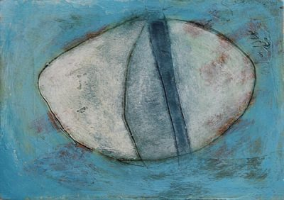 painting by R. Sawan White, a pebble for the water