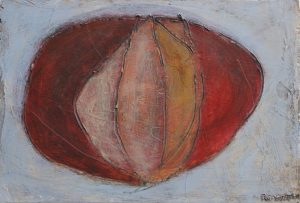 painting by R. Sawan White, a pebble from the flame