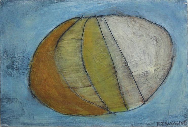 painting by R. Sawan White, and a pebble from the sun